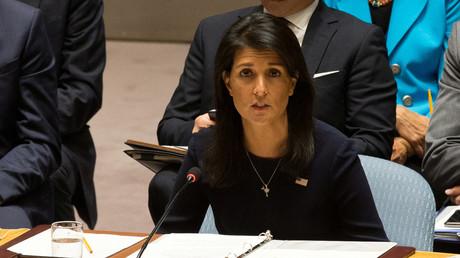 Die UN-Botschafterin Nikki Haley bei einer Sitzung des UN-Sicherheitsrats in New York, USA, 4. September 2017.