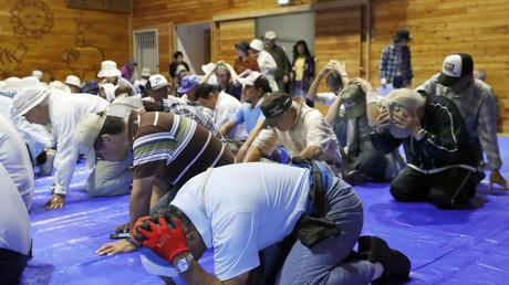 Anwohner proben die Evakuierung in Takikawa, Hokkaido, Japan, 1. September 2017.
