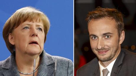 Ein Bild Angela Merkels neben dem von Jan Böhmermann