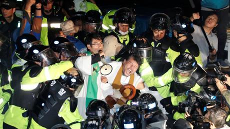 Proteste gegen die Aufstellung von THAAD in Seongju, South Korea, 7. September 2017