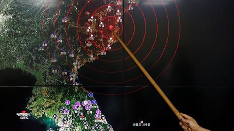Ryoo Yong-gyu, eine Erdbebenüberwachungsstation, zeigt seismische Wellen in Südkorea, 9. September 2017.