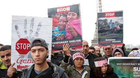Pro-Rohingysa Aktivisten in Paris