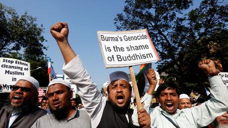 Demonstranten gegen die Vertreibung der Rohingya-Muslime in Myanmar, Kalkutta, Indien 7. Dezember 2016.