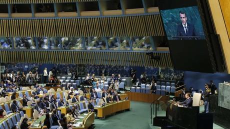 Frankreichs Präsident Emmanuel Macron hält seine Rede während der Generaldebatte der UN-Vollversammlung.