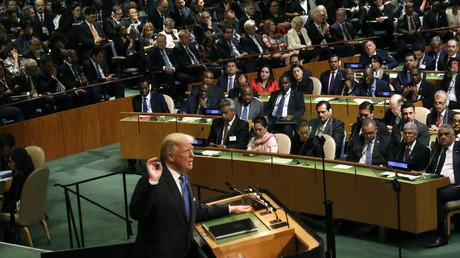 US-Präsident Donald Trump bei seiner ersten Rede im Rahmen der Generalversammlung der Vereinten Nationen, New York, USA, 19. September 2017.