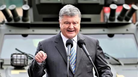 Der ukrainische Präsident Petro Poroschenko tritt wahrend einer Ausstellung ukrainischer Militärtechnik am 23. August 2017 auf.
