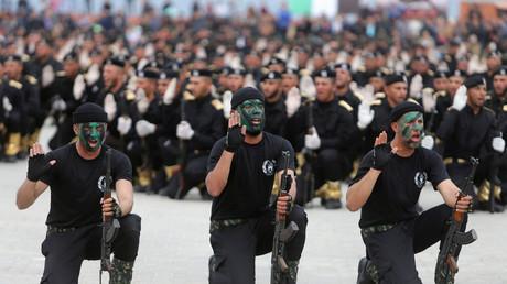 Palästinensische Polizisten mit Loyalität zur Hamas nehmen an einer Graduierungszeremonie in Gaza Stadt teil, Israel, 30. März 2017.