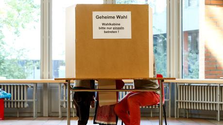 Wahlkabine in München, 24. September 2017