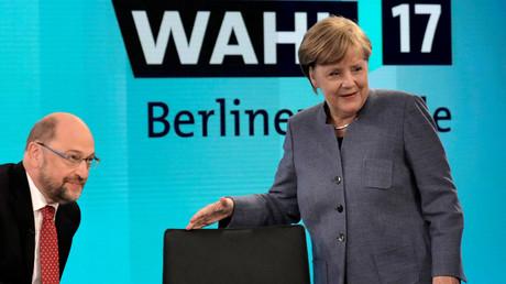 Kanzlerin Angela Merkel in einer TV-Debatte mit ihrem Herausforderer Martin Schulz, Berlin, 24.  September 2017.