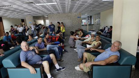 Patienten im Warteraum eines Krankenhauses in Havanna, Kuba, 19. Oktober 2012