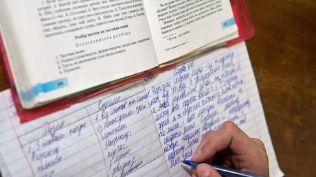 Der Unterricht der ukrainischen Sprache in Simferopol am 24. April 2014, ein Monat nach dem Referendum und Angliederung an Russland. Neben Russisch und Krimtatarisch bleibt Ukrainisch eine der Staatssprachen auf der Krim.