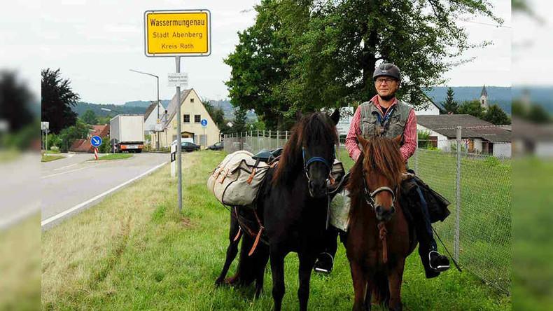 Mit den Pferden von der Schule abgeholt