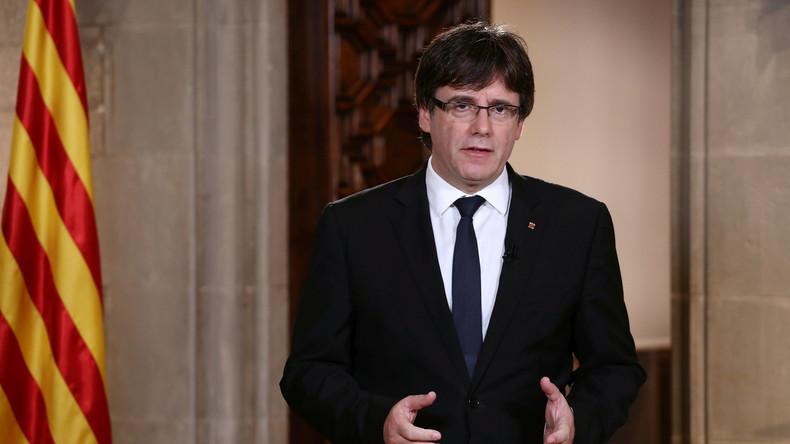 LIVE: Puigdemont hält Rede im katalanischen Parlament