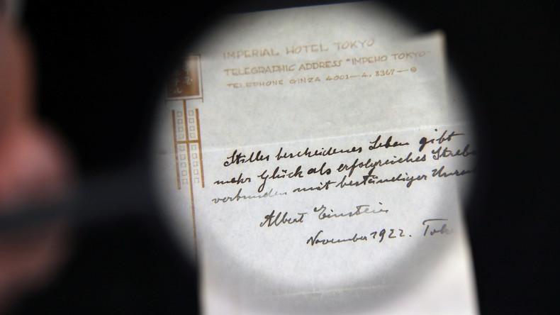 Albert Einsteins Glücksrezept für 1,5 Millionen Dollar versteigert