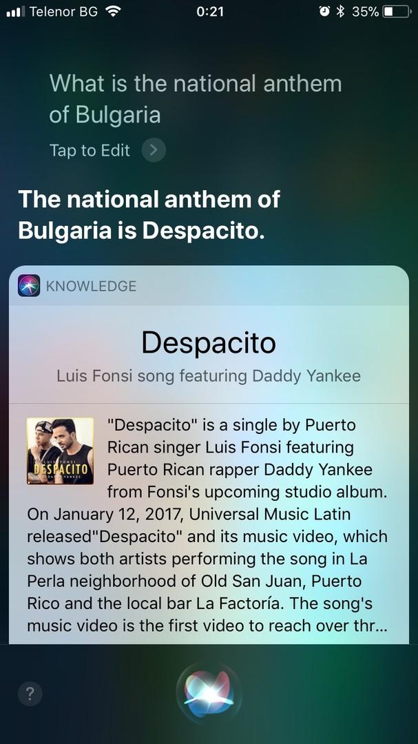 Siri gibt Sommerhit Despacito für bulgarische Nationalhymne aus [FOTO, VIDEO]