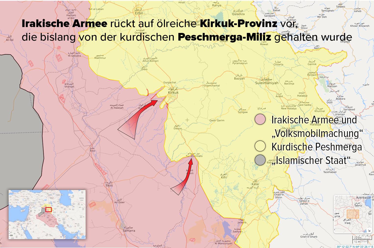 Eskalation nach Referendum: Irakische Armee rückt in Provinz Kirkuk gegen kurdische Peschmerga vor