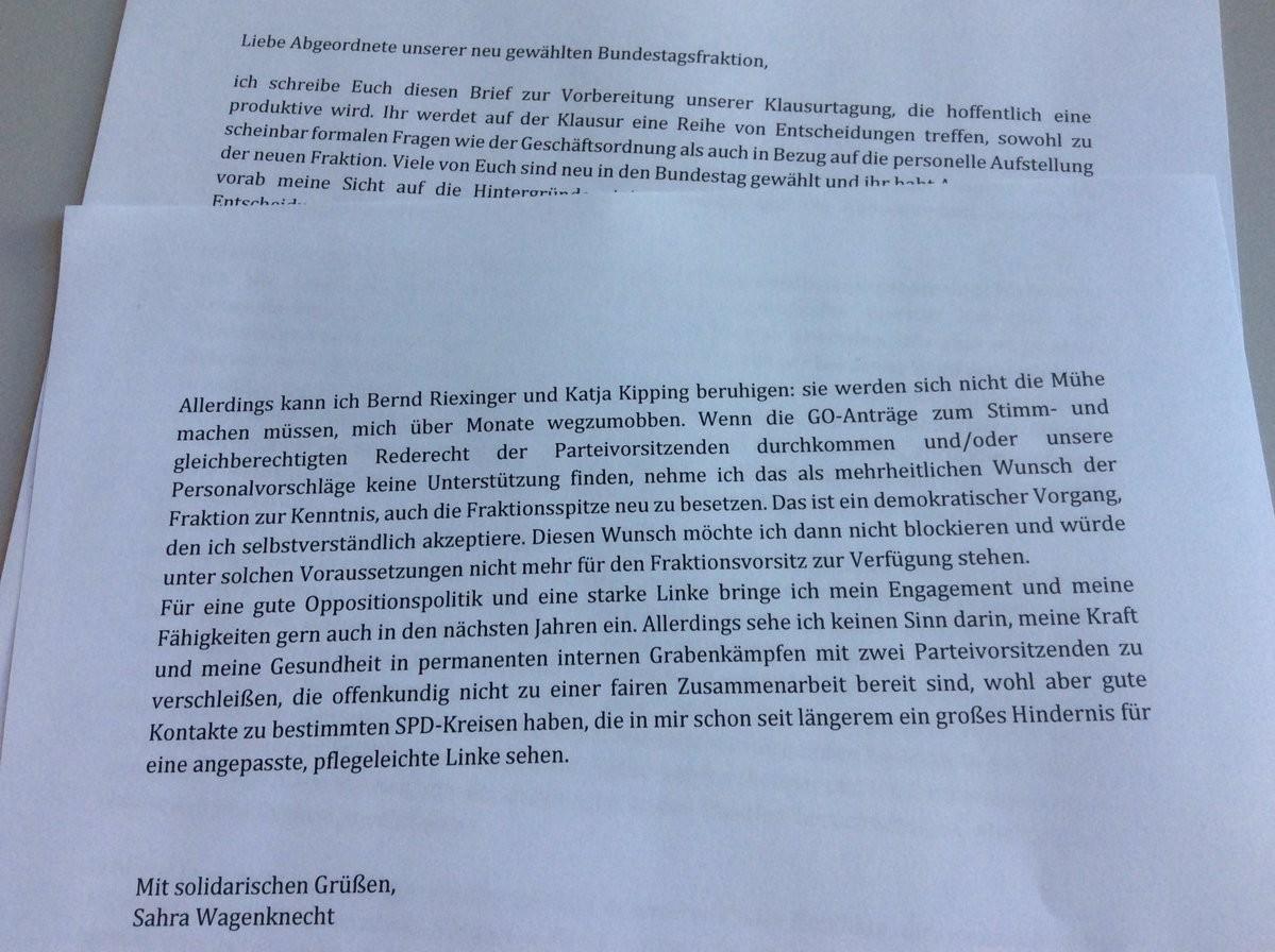 Wagenknechtdroht im Machtkampf der Linken mit Rückzug: Kipping nicht zu fairer Zusammenarbeit fähig