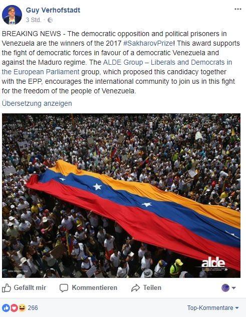 Menschenrechtspreis 2017 des EU-Parlaments geht an Putschbefürworter der venezolanischen Opposition