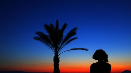 Sonnenuntergang in Athen, Griechenland, 31. Mai 2012.