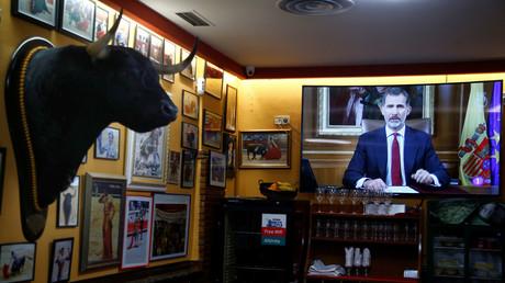 Der spanische König Felipe zu sehen bei einer Fernsehansprache in Madrid, Spanien, 3. Oktober 2017.