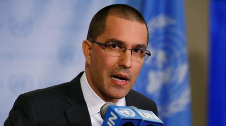 Der venezolanische Außenminister Jorge Arreaza spricht auf einer Pressekonferenz am Rande der 72. UN-Vollversammlung in Manhattan, 19. September 2017.