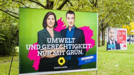 Das Selbstverständnis der Grünen als Formel auf einem Wahlplakat