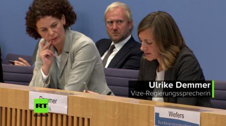 Die Vize-Regierungssprecherin Ulrike Demmer auf der Bundespressekonferenz in Berlin (11, Oktober 2017)