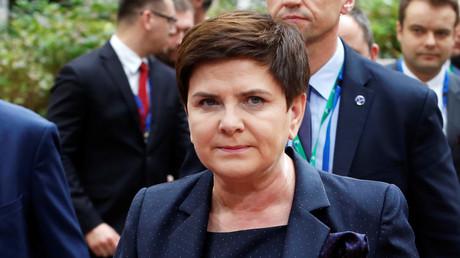 Die Ankunft der polnischen Ministerpräsidentin Beata Szydło auf dem EU-Gipfel in Brüssel (19. Okober 2017, Quelle: Reuters)