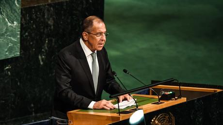 Russlands Außenminister Sergei Lawrow während eine Rede vor den Vereinten Nationen.