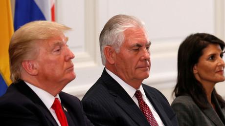 US-Präsident Donald Trump, Außenminister Rex Tillerson und UN-Botschafterin Nikki Haley in New York, USA, 18. September 2017.