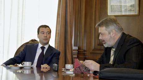 Dmitri Muratow, Chefredakteur der russischen Zeitung Nowaja Gazeta, interviewt Dmitri Medwedew, Moskau, Russland, 13. April 2009.
