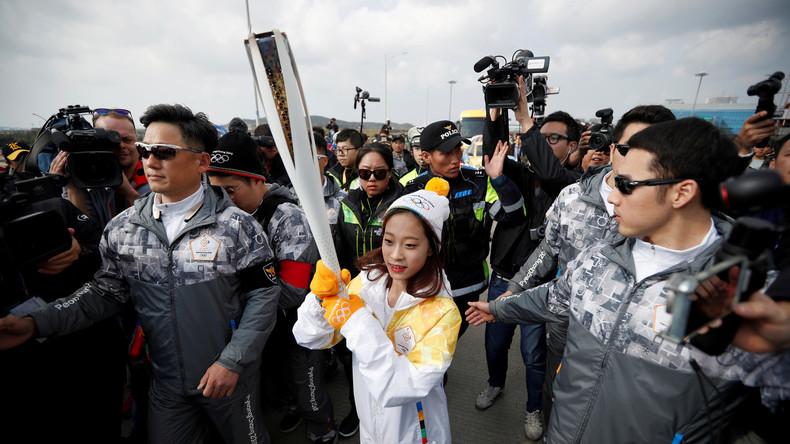 Olympische Flamme für Winterspiele 2018 in Südkorea eingetroffen