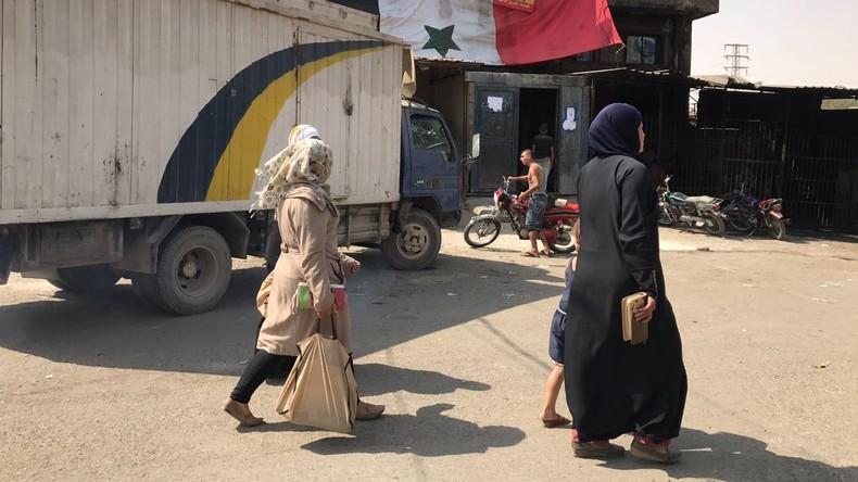Russische Armeeangehörige verteilen 1,8 Tonnen Nahrungsmittel in Aleppo