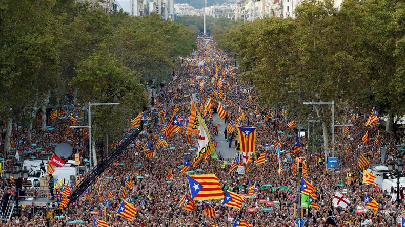 LIVE: Demonstration für Unabhängigkeit in Barcelona
