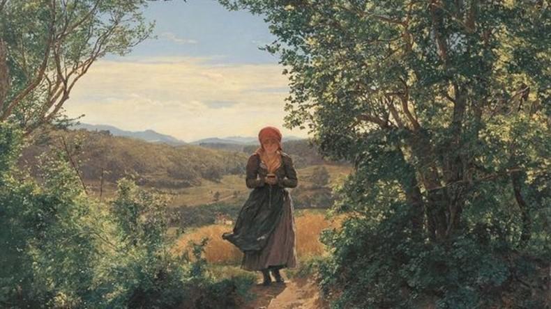 Vermischung von Epochen: Frau mit vermeintlichem iPhone auf Gemälde aus 19. Jahrhundert dargestellt