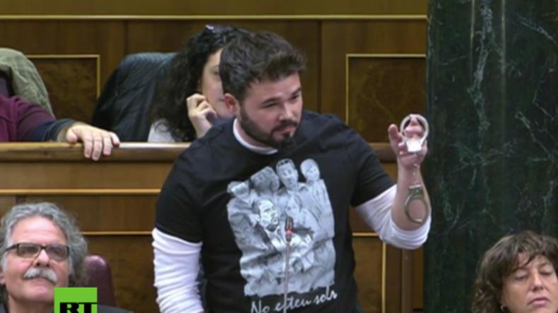 """Katalanischer Politiker bei Plenarsitzung in Madrid: """"Hoffentlich sehen wir Rajoy in Handschellen"""""""