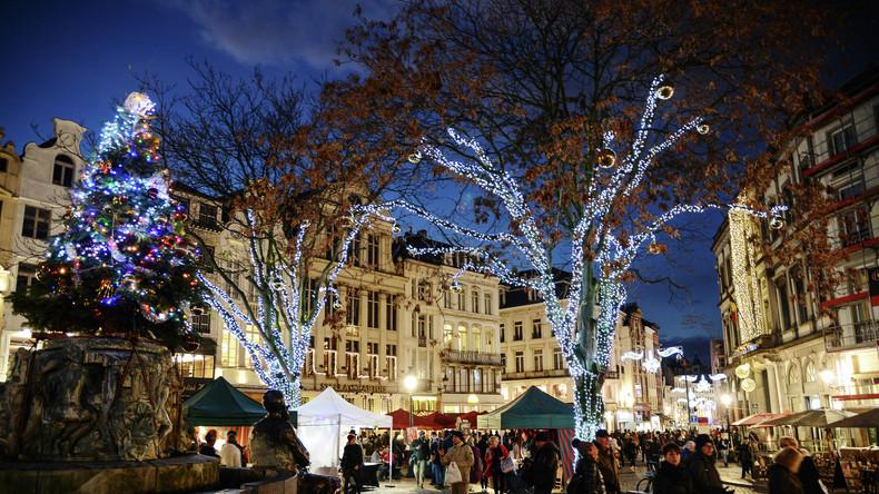 """Weihnachtsstimmung und Angst vor Terroranschlag: """"Europäischer Weihnachtsmarkt"""" in Brüssel eröffnet"""