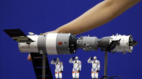 Ein Model der Raumstation Tiangong-1.