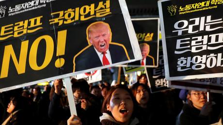 Anti-Trump-Demonstranten in Seoul, Südkorea, 7. November 2017.
