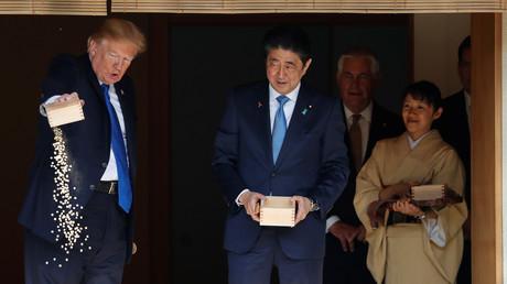 Donald Trump füttert japanische Kois, Akasaka, Tokio, Japan, 6.November 2017.