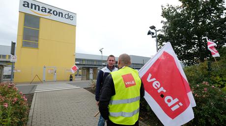 Streikposten vor dem Amazon-Werk in Leipzig, 2. Oktober 2017.