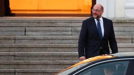SPD-Parteichef Martin Schulz nach seinem Gespräch mit Bundespräsident Frank-Walter Steinmeier am Donnerstag.