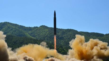 Hwasong-14 im Test, Pjöngjang, Nordkorea.
