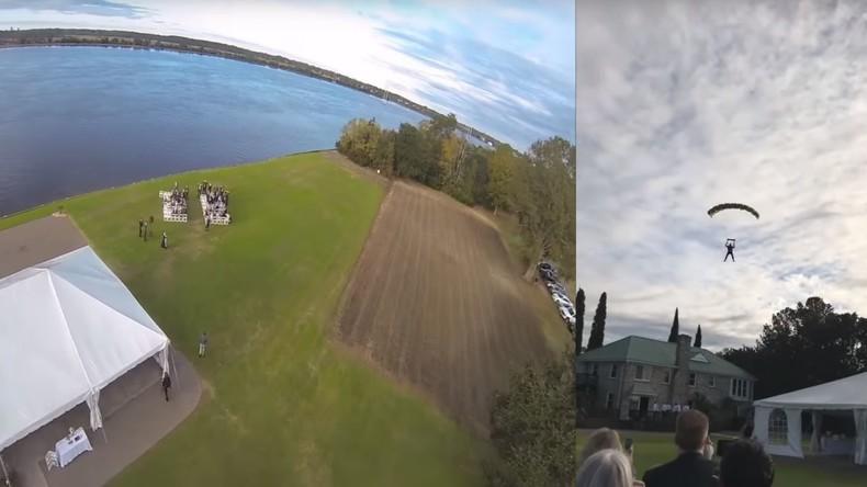 Bräutigam springt zu seiner Hochzeits-Zeremonie mit Fallschirm in den USA ab