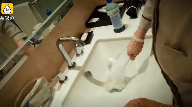 Putzfrauen aus Luxus-Hotels beim Geschirrspülen mit Toilettenbürsten erwischt