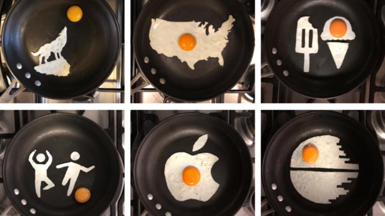 Eier als Kunstwerk: Fotograf schafft Bilder aus Spiegeleiern
