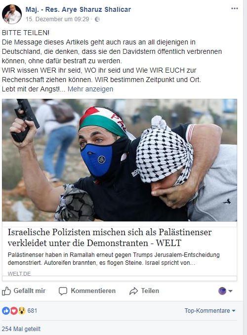 """""""Lebt in Angst!"""": Israelischer Regierungsbeamter ruft zur Jagd auf Palästinenser in Deutschland auf"""