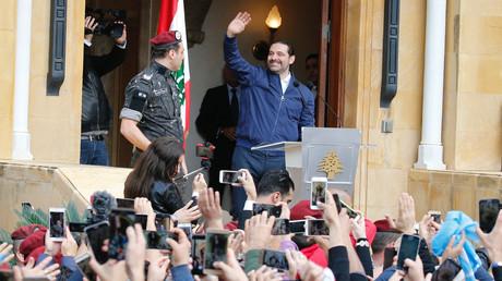 Beirut, 22. November 2017: Nach seiner Rückkehr in den Libanon spricht Saad Hariri zu seinen Anhängern.