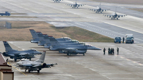 US-amerikanische Militärflugzeuge im südkoreanischen Pyeongtaek am 3. Dezember 2017.