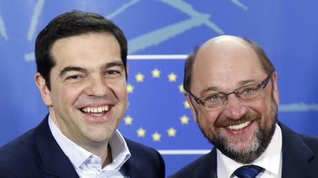 Brüder im Geiste? Der griechische Premierminister Alexis Tsipras (L) und SPD-Chef Martin Schulz.